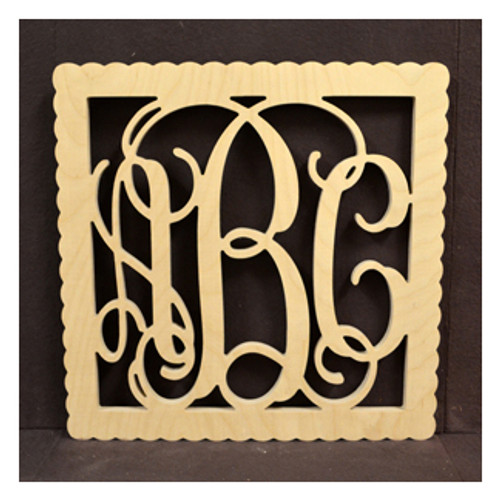 Wooden Monogram with Square Scalloped Border