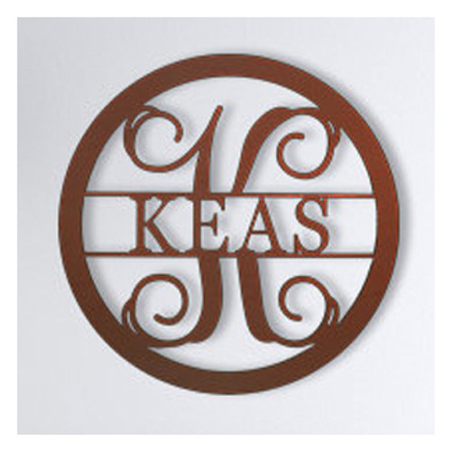 Family Wooden Monogram with Round Border