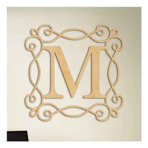 Wood Initials with Decorative Border