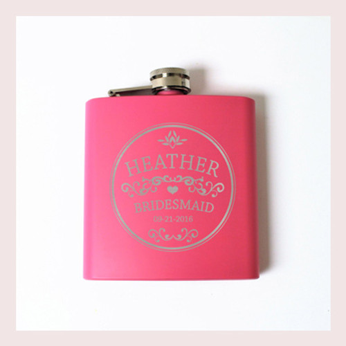 Engraved 6 oz Wedding Flask FD040