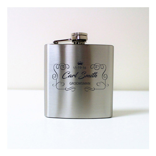 Engraved 6 oz Wedding Flask FD043