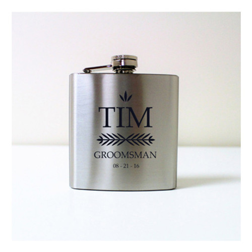 Engraved 6 oz Wedding Flask FD046