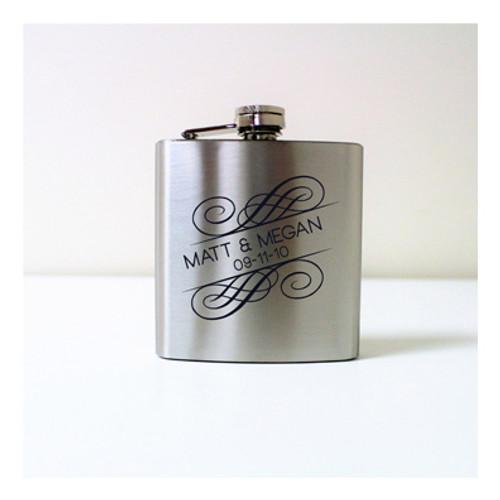 Engraved 6 oz Wedding Flask FD049