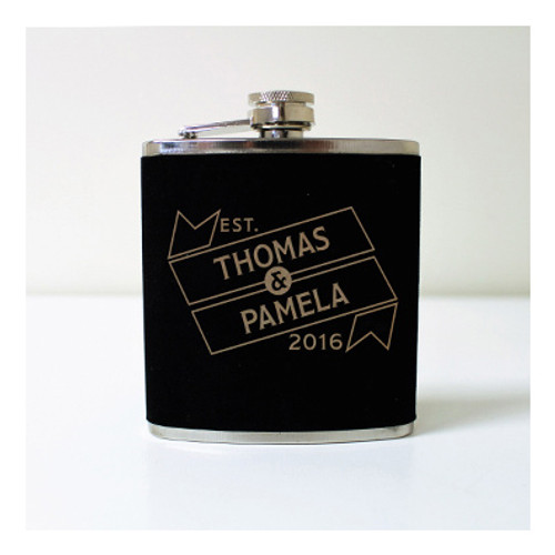 Engraved 6 oz Wedding Flask FD052
