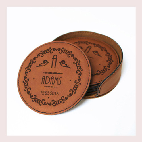 Coaster Leather Round CD026