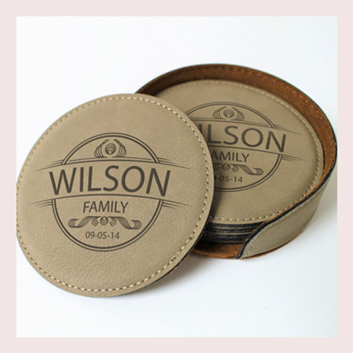 Coaster Leather Round CD029