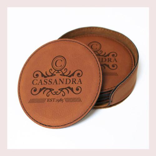 Coaster Leather Round CD036