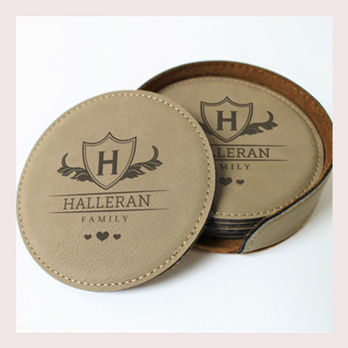 Coaster Leather Round CD038