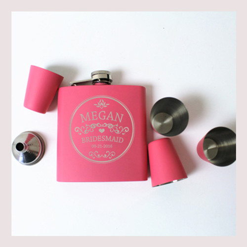 Engraved 6 oz Wedding Flask Set FD040