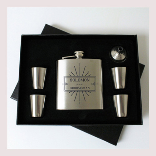 Engraved 6 oz Wedding Flask Set FD041