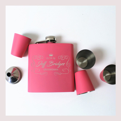 Engraved 6 oz Wedding Flask Set FD043