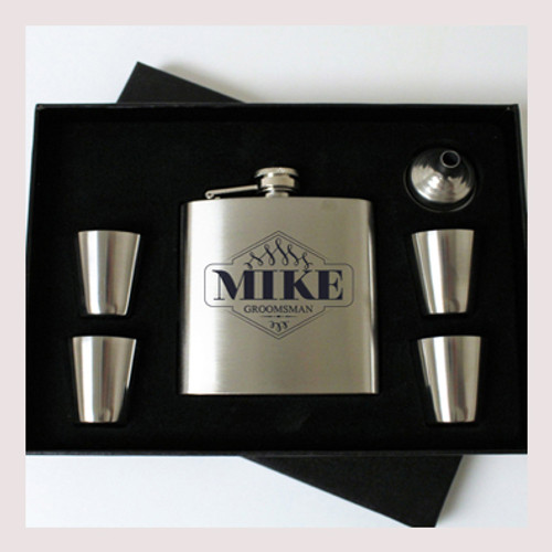 Engraved 6 oz Wedding Flask Set FD044