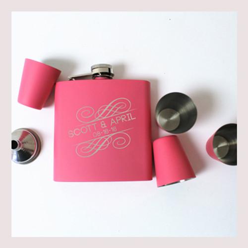 Engraved 6 oz Wedding Flask Set FD049