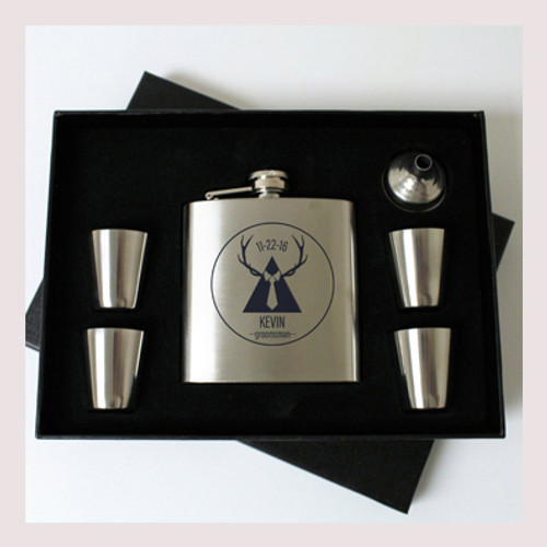 Engraved 6 oz Wedding Flask Set FD050