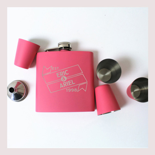 Engraved 6 oz Wedding Flask Set FD052