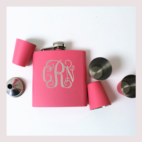 Engraved 6 oz Wedding Flask Set FD055