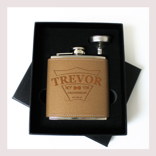 Engraved 6 oz Wedding Flask Small Set FD038