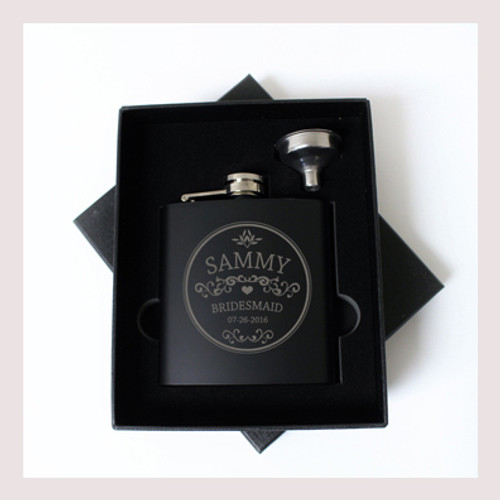 Engraved 6 oz Wedding Flask Small Set FD040
