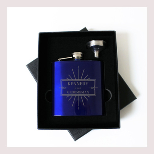 Engraved 6 oz Wedding Flask Small Set FD041