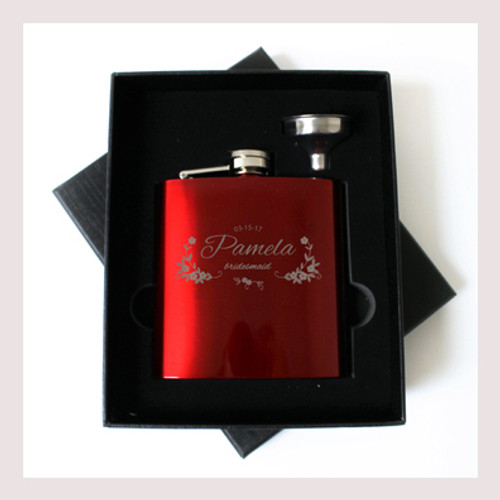 Engraved 6 oz Wedding Flask Small Set FD042