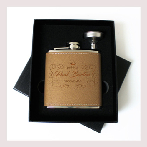 Engraved 6 oz Wedding Flask Small Set FD043