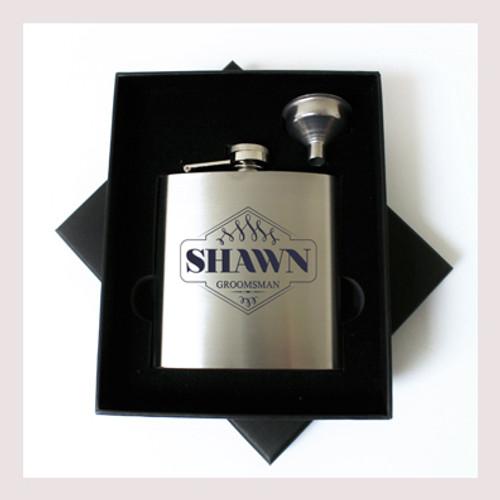Engraved 6 oz Wedding Flask Small Set FD044