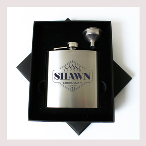 Engraved 6 oz Wedding Flask Small Set FD044