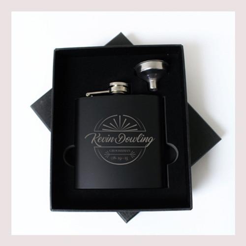 Engraved 6 oz Wedding Flask Small Set FD045