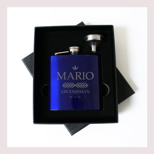 Engraved 6 oz Wedding Flask Small Set FD046