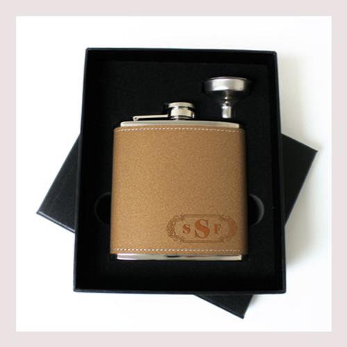 Engraved 6 oz Wedding Flask Small Set FD048