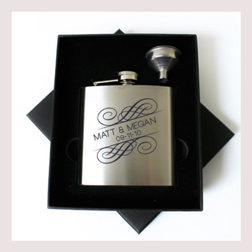 Engraved 6 oz Wedding Flask Small Set FD049