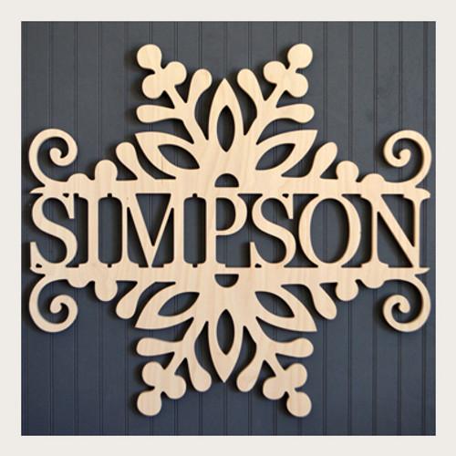 Wooden Snowflake Monogram Split with Name Door Hanger
