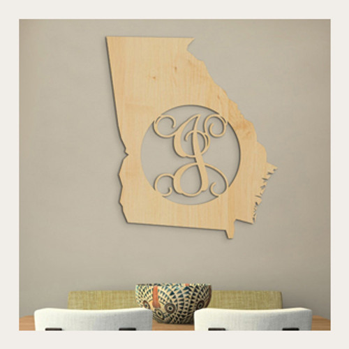 State Monogram - Wooden Monogram - Personalized State Shape