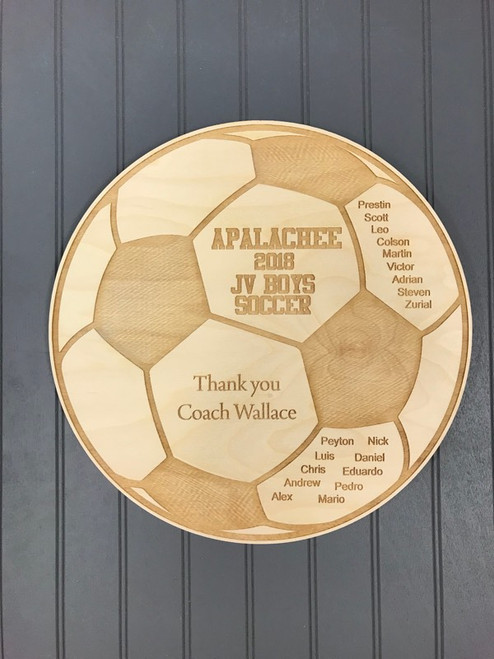 """These 14"""" custom Soccer plaques are a unique way to thank your coach.  Add your team's name, level, all of your players names and a thank you to your coach!"""