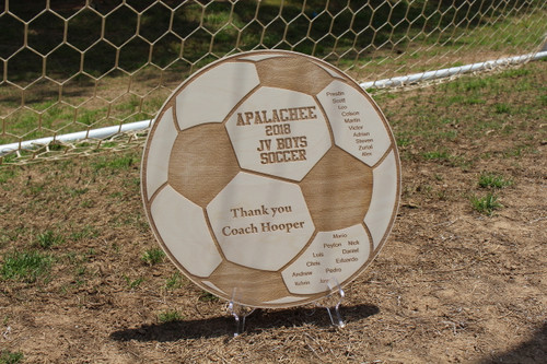 "These 14"" custom Soccer plaques are a unique way to thank your coach.  Add your team's name, level, all of your players names and a thank you to your coach!"