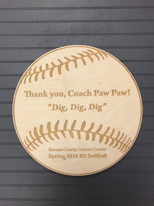 "Engraved Coach's Baseball/Softball Plaque, 14"" Birch Wood"
