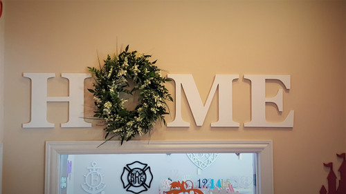 """This picture is of 16"""" H,M, E paired with a wreath to form the word HOME. Create words like, HOME, WELCOME, LOVE, etc and swap out a letter with a wreath, shape, heart, animal or something the fits your decorating theme."""