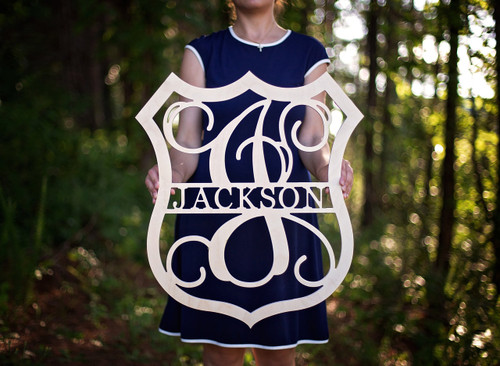 Family Name and Monogram with Badge Border