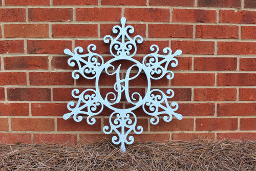 Snowflake with Single Letter Mongram, Painted with Glitter