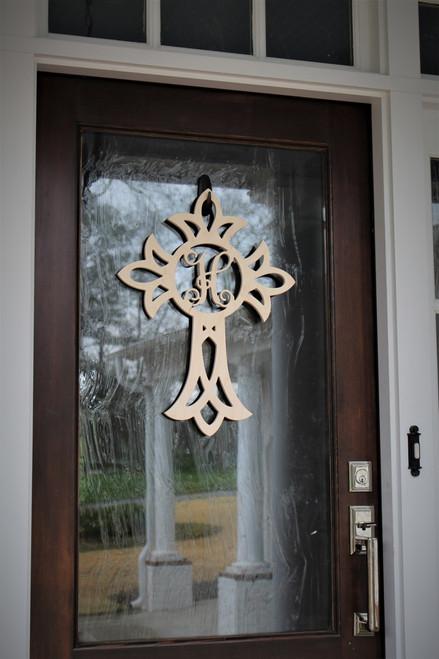 Decorative Cross with Single Letter Monogram