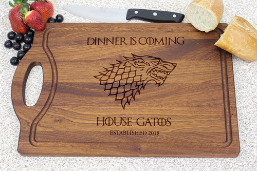 """""""Dinner Is Coming"""" Game of Thrones cutting board"""
