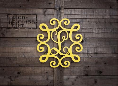 Single Letter Monogram in Scroll Border