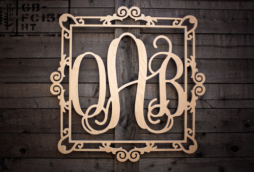 Three Letter Monogram in Decorative Frame