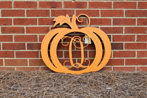Pumpkin Frame with Single Letter Monogram