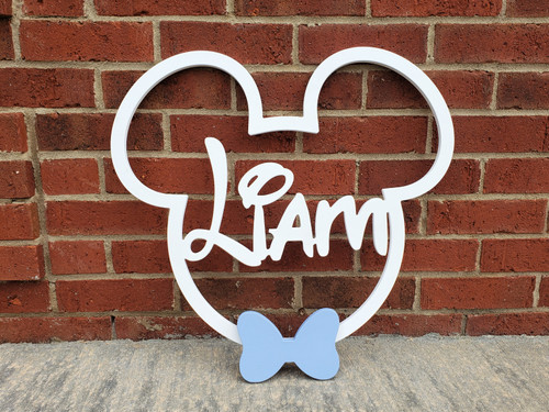 Mickey or Minnie Mouse Frame with Name