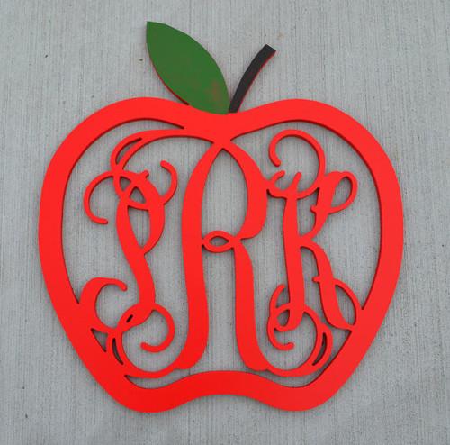 Apple Border with Three Letter Monogram Door Hanger