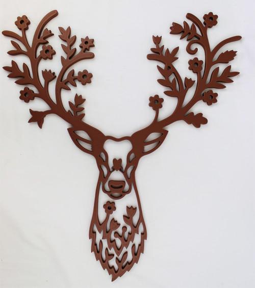 Wooden Floral Deer Head Sign, Deer Wall Art