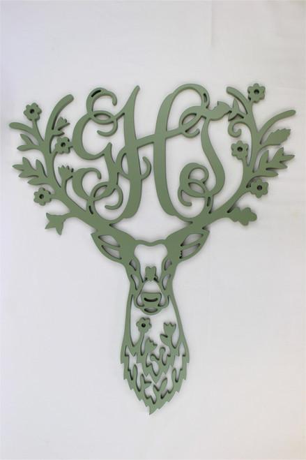 Floral Deer Head Sign With 3 Letter Monogram