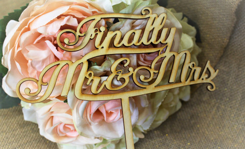 """Finally Mr & Mrs"" Cake Toppers"