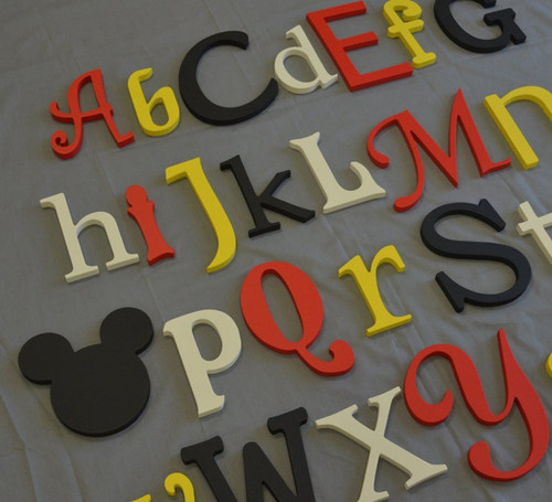 Wooden Alphabet Wall Decor, Mickey Accent